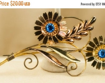 Vintage Brooch - Flower Brooch Blue Faceted Stones in Rose and Yellow Gold Tone Setting