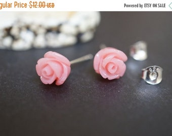 AUTUMN SALE Barbie Doll Simple and Elegant Soft Pink Angel Skin Coral Flower Earring Sterling Silver Studs 8mm - 1 pair