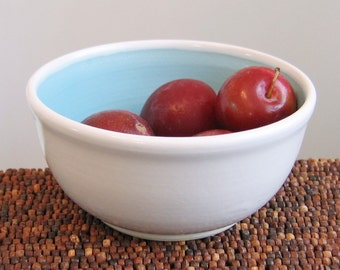 Small Bowl  - Lagoon Blue Stoneware Ceramic Pottery Bowl Handmade Oatmeal Bowl
