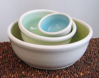 Ceramic Nesting Bowls - Wedding Gift - Stoneware Pottery Prep Bowl Set in Seaside