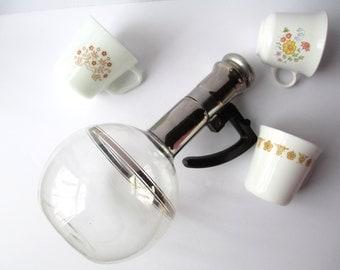 Vintage Glass Coffee Carafe Silver Stripe - Art Deco Style Retro