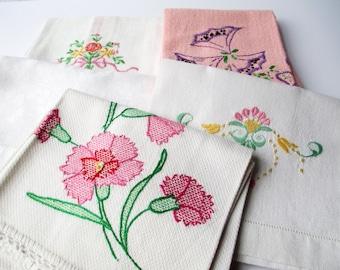 Vintage Floral Embroidered Applique Tea Towels Collection of Five