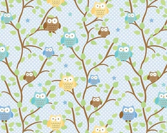 SALE Snips and Snails Owls Blue - 1/2 Yard