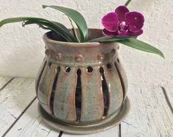 Handcrafted Ceramic Orchid Pot - Orchid Planter Pot- Wheel Thrown Pottery - Home Decor