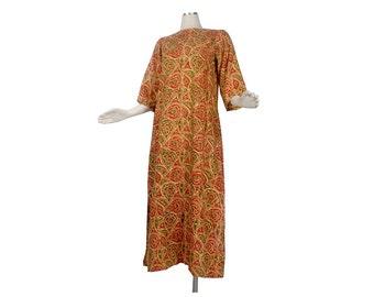 Vintage 60s Dress - Vintage India Dress - 60s India Dress - 60s India Maxi Dress - India Block Print - 60s Boho Kaftan - 60s India Kaftan