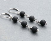 Black Onyx Dangle Earrings, Black Gemstone Earrings, Matte Onyx Earrings, Black Dangle Earrings, Lever Back, Sterling Silver, #4691