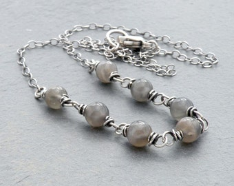 Moonstone Necklace, June Birthstone Jewelry, Sterling Silver, Gray Gemstone, June Birthday, Layering Necklace,  #4685