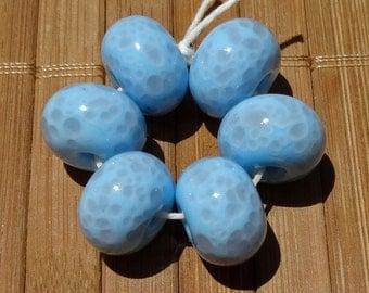 Sky Blue Mosaic -- Handmade LAMPWORK Bead Set