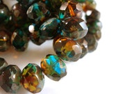 10 Amber Blue Picasso Beads Czech Fire Polished Faceted Glass Rondelle 8x6mm - 10 pc - G6041-AT10