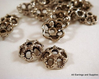 25 Flower Bead Caps Antique Silver Tibetan Silver NF 10mm - 25 pc - F4079BC-AS25