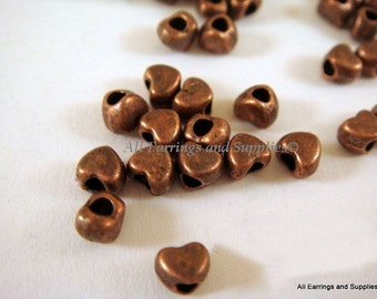 50 Copper Heart Spacer Bead Antique Plated LF/NF 4x3.5mm 1.5mm Hole - 50 pc - M7020-AC50