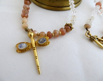 Dragonfly Necklace With Sunstone & Moonstone