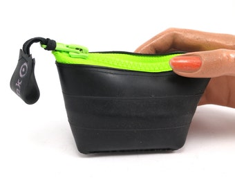 Small purse. Recycled bicycle inner tube purse with neon green zipper and bottom, top quality.