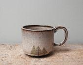 Black Ceramic Pine Trees Mug with Grey Glaze