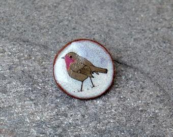 Little Ceramic Robin Brooch