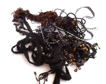 trim grab bag, dozen piece tapes, black embellishments, bead trims, gimp tapes, braided cords, black collection, baubles, trim destash