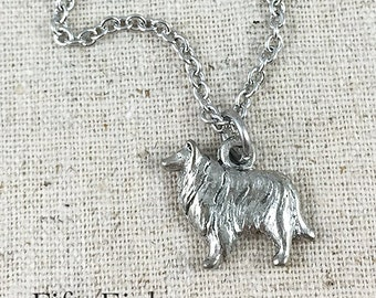 Collie Charm Necklace, Silver Collie Charm, Dog Lover Necklace, Dog Charm Necklace, Collie Owner Gift, Dog Necklace