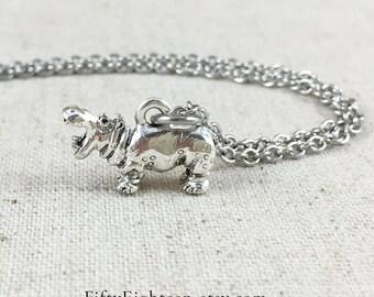 Hippopotamus Charm Necklace, Silver Hippo Charm Jewelry, Hippo Gift, Hippopotamus Charm