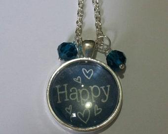 Faux Silver Pendant 'Happy' Necklace