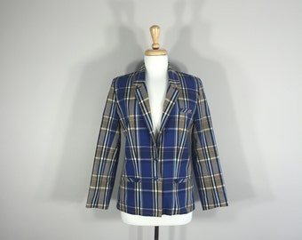 Vintage Plaid Jacket, Abvien Plaid Jacket, Blue and Taupe button jacket, Lined women's Jacket, made in Taiwan