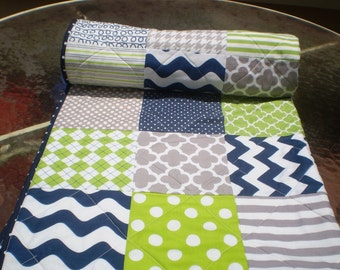 Nautical Baby quilt, navy blue,grey,lime green,Baby boy bedding,baby boy quilt,patchwork Crib quilt,toddler,waves,chevrons,dots,Lime Rickey