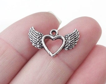 10 Winged Heart  Charms 12x20x2mm, Hole: 1mm