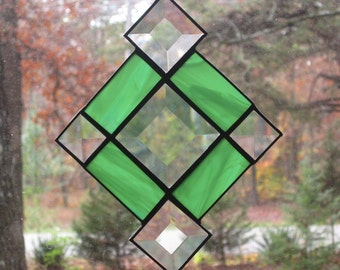 Stained Glass Suncatcher- Clear & Green Bevel with Green Border