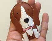 Small size - Tanny the Beagle cowhide leather charm ( Brown )