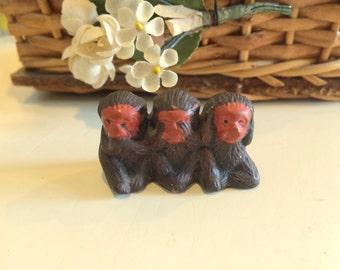 See No Evil Monkey Animal Figure Chalkware or Syroco Tiny
