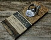 Wall Mounted Bottle Opener Crafted From a Whiskey Barrel Stave