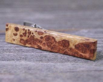 Wooden Tie Clip: Asian Amboyna Burl Rare Two Tone
