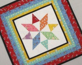 8 POINTED STAR 1930s Mini Quilt from Quilts by Elena Table Runner Wall Hanging