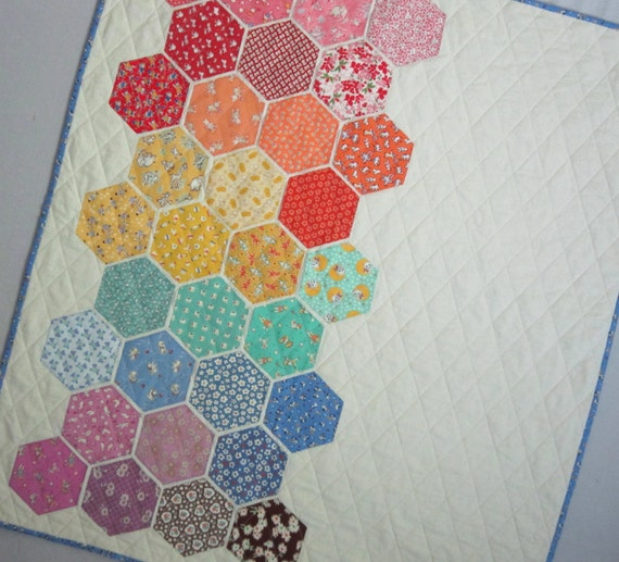 Big Bold Baby Hexagons Quilt from Quilts by Elena Modern 1930s Reproduction  appliqued hexagons Wall Hanging Ready to Ship