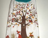 Woodland Dish Towel - Hanging Kitchen Towel - Crochet Top Towel - Woodland Animals - Fox, Raccoon, Owl, Squirrel Towel - Hanging Dish Towel