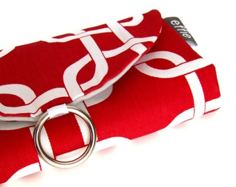 Jewelry Roll Travel Organizer. Travel Gifts. Red Modern Links Travel Jewelry Case. Travel Jewelry Holder. Travel Roll. Gifts for Her.