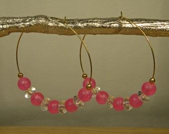 Pink and Clear Beaded Hoop Earrings