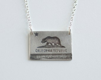 California Necklace - CA Flag - California Jewelry - California Flag - California Bear - Los Angeles Necklace - San Francisco Necklace