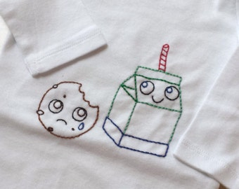 Milk and Cookies Hand Embroidered Bodysuit