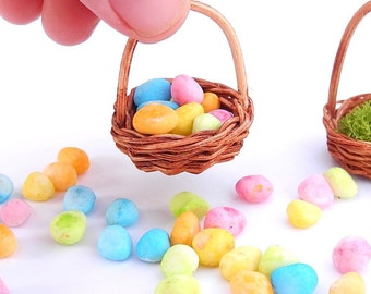 Miniature Easter Eggs and Basket for a Miniature Garden Egg Hunt, Fairy Garden or Terrarium, Incredibly Sweet, A Baker's Dozen