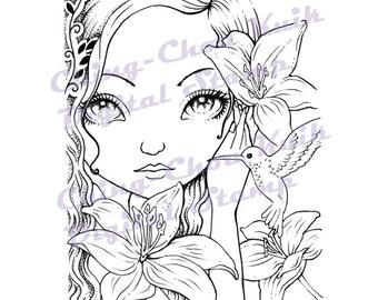 Dark Lilies - Instant Download / Bird Hummingbird Animal Lily Fantasy Fairy Girl Art by Ching-Chou Kuik