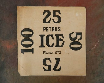 Vintage Petrus Ice Delivery Sign