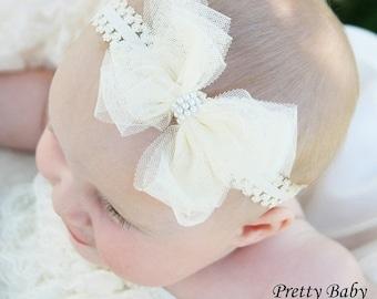 SALE Baby Girl Headband - Cream/Ivory Bow  Headband - Newborn Headband - Toddler Headband - Baby Headband