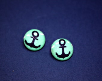 Aqua Anchor Button Earrings - Nautical Navy - Post Fabric Covered Studs