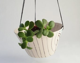 Hanging planter, indoor planter, succulent planter, vertical planter, porcelain planter, hanging pot garden, succulent pot, outdoor planter