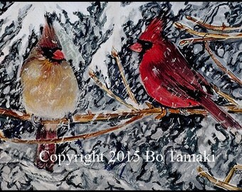 5 x 7 Cardinals in the Snow archival print all occasion greeting card