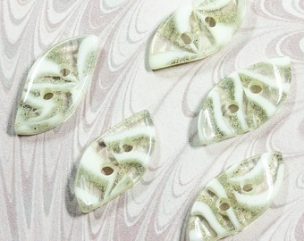 Vintage 1940s Lucite Buttons, Wavey Spindle Shape, Opaque White & Clear with Glitter Flecks (lot 5) Early Plastic