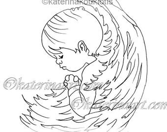Angel Boy Praying INSTANT DOWNLOAD Printable  Colouring page By Katerina Art