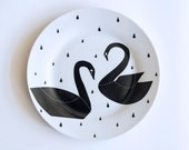 SUMMER SALE! Swan couple and raindrops breakfast plate