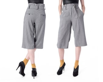 HIGH WAIST pants Trousers Houndstooth vintage black white Belted capris Size 8 / women / better Stay together
