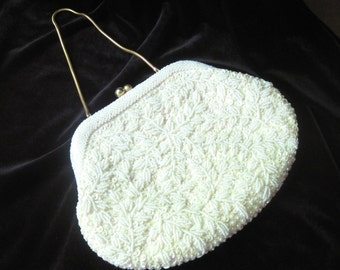 Classic white beaded sequined formal evening bag